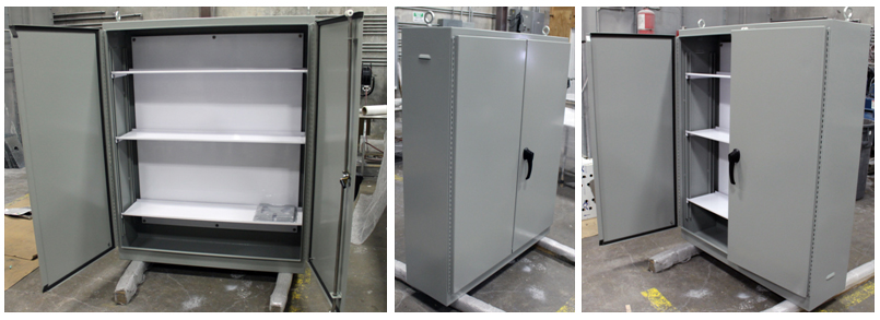 Heavy duty adjustable shelves, mounting pan for wiring harnesses and vents are just a few of the features of this custom electrical enclosure manufactured by Nema Enclosures for WFMS Inc.
